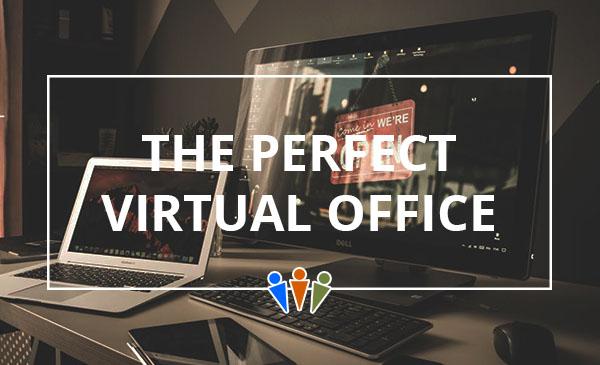 perfect virtual office, desk, laptop, monitor