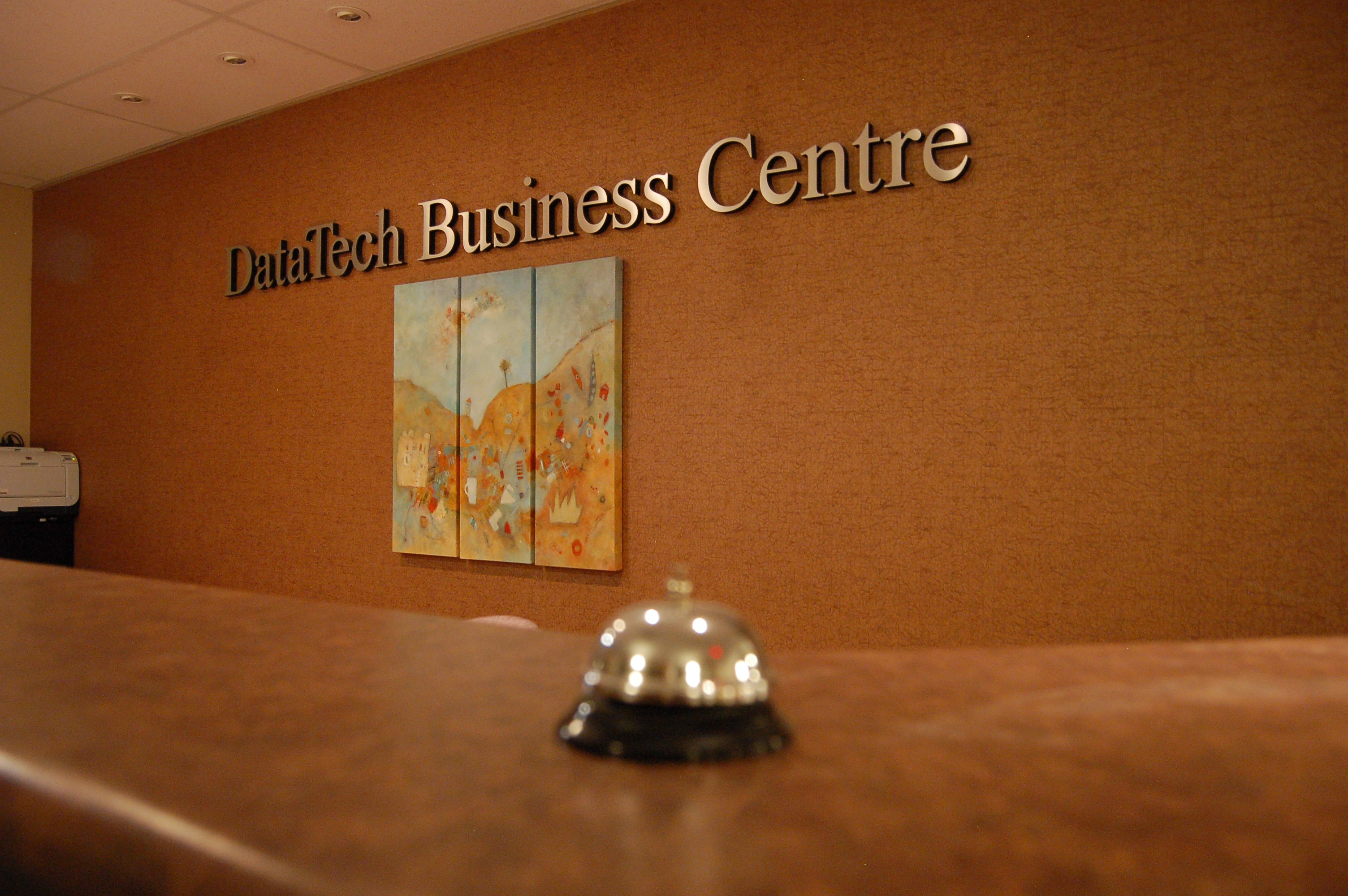 datatech, office space victoria, gallery. photo gallery, front desk sign